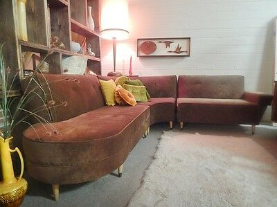VINTAGE MID CENTURY MODERN 3 PC SOFA SECTIONAL 1950'S RETRO ATOMIC  RESTORED