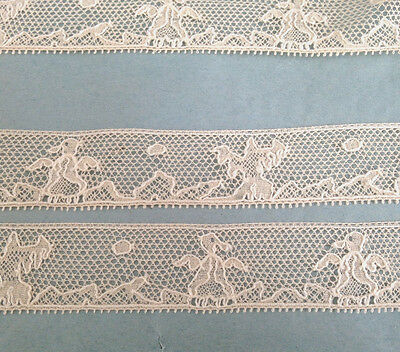 """ANTIQUE FRENCH BINCHE LACE, 1"""" ANIMAL FIGURAL, UNUSED BY THE YD"""