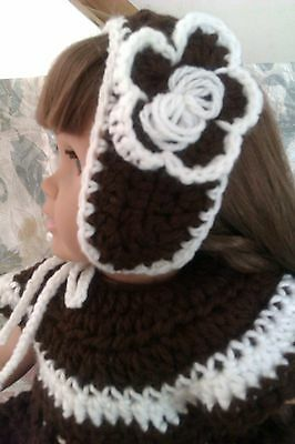 Fits American Girl Doll handmade crochet brown and white for 18 inch clothes 5+