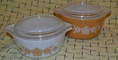 Vintage PYREX 473, 472 BUTTERFLY GOLD Cinderella Casserole Dishes with lids