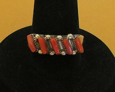 Native American Zuni Red Coral Petit Point Ring Size 8.5 Signed Amy Locaspino