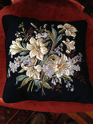 Gorgeous Wool Needlepoint and Petit Point Victorian Pillow - Lilies