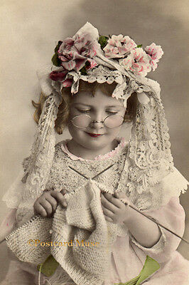 LITTLE GIRL KNITTING Vintage Postcard Image Photo, Blank Card Or Print CE062