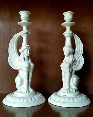 Vintage Pair FITZ AND FLOYD Sphinx Harpy Ancient Mythology Candlestick Holders