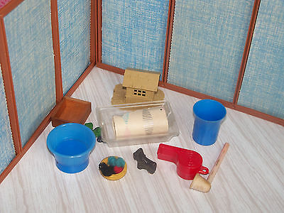 Vtg  Doll House Miniature Junk Drawer Misc Dog Cup  Toy Item Lot
