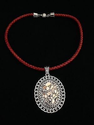 CHIC GENUINE BRAIDED LEATHER NECKLACE WITH WHITE MOSAIC TURQUOISE PENDANT BEAD!