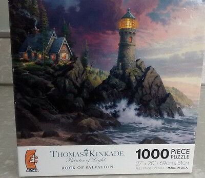 *NEW* THOMAS KINKADE ROCK OF SALVATION PUZZLE 1000 PIECES LIGHTHOUSE SCENIC