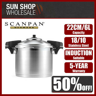 Genuine! SCANPAN 22cm 6L Stainless Steel Pressure Cooker with Side Handles!