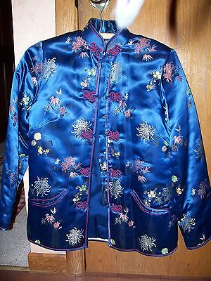 Beautiful Vintage Blue Floral  PEONY Chinese Puffer Jacket - Size S