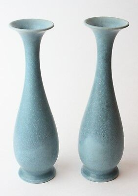 "Vtg ROOKWOOD 1945 Set of 2 Vases Pair Blue XLV 2545 F 7"" Bud Lot Beautiful"