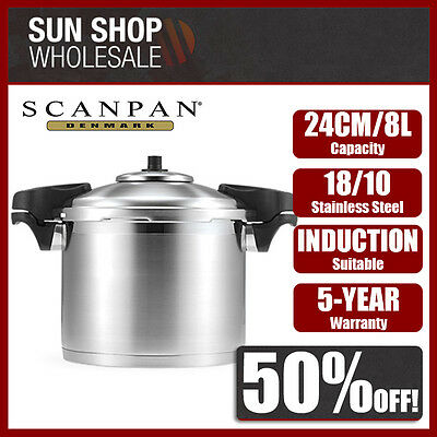 Genuine! SCANPAN 24cm 8L Stainless Steel Pressure Cooker with Side Handles!