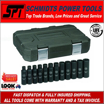 """Gearwrench 84944 Deep Metric Impact Socket 1/2"""" Drive Set 12 Piece Set With Case"""