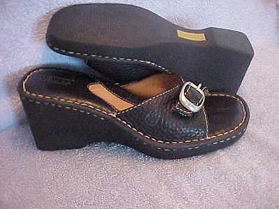 "Womens Shoes BORN Black  Mules w Buckle Accent Size 7 LN  3"" Heel"