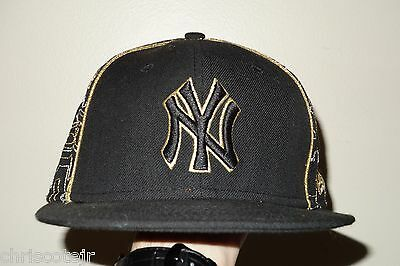 NEW ERA 59Fifty NEW YORK YANKEES Black Gold Wool Baseball Cap HAT size 7 1/2 EUC