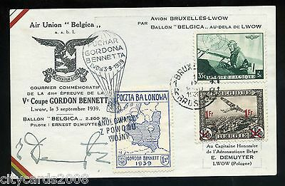 1939 Belgium Gordon Bennett BALLOON card signed E Demuyter Pilot / Special label