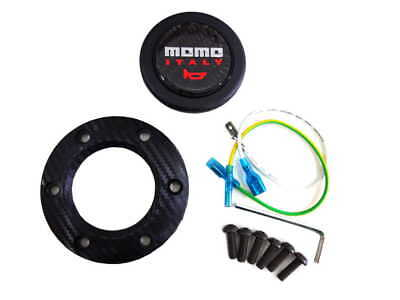 Momo Carbon Fiber Racing Car Steering Wheel Horn Button + Cover For Most of Cars