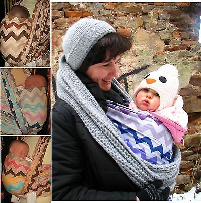 CHEVRON NEW DESIGN BABY SLING WOVEN 100% COTTON WRAP CARRIER - BIRTH -3 yrs