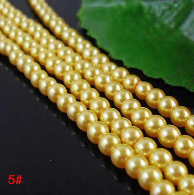200Pcs Lightful Glass Pearl Round Spacer Beads 4mm Yellow