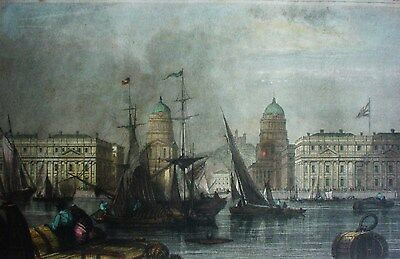 GREENWICH HOSPITAL (London mit Themse uns Schiffen) - Color Stahlstich um 1840