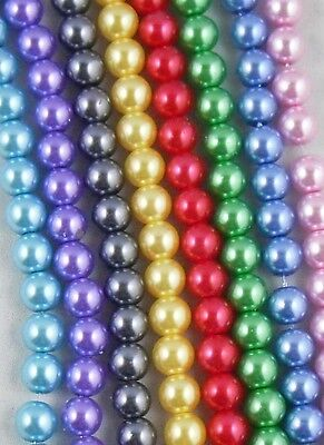 200Pcs Lightful Glass Pearl Round Spacer Beads 6mm Mixed