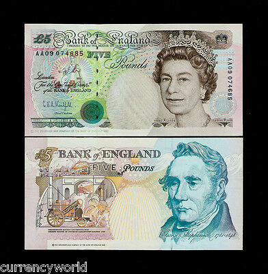 Great Britain 5 Pounds P385 1990 *AA* Queen Locomotive Rocket UNC Note Free Ship