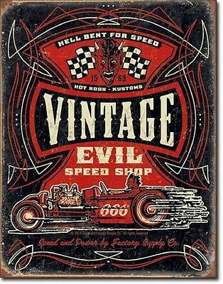 New Vintage Evil Speed Shop Vintage Style Metal Sign any 2 signs ship for $ of 1