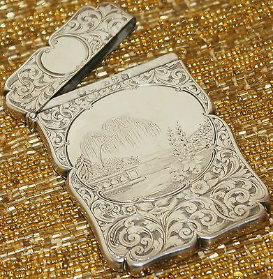 Antique Sterling Silver Card CaseSigned Edward Smith Birmingham 1844