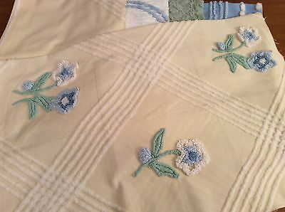 5 Pieces Vintage Chenille Fabric 4 Cabin Craft Blue White Yellow Flowers Sage Gr