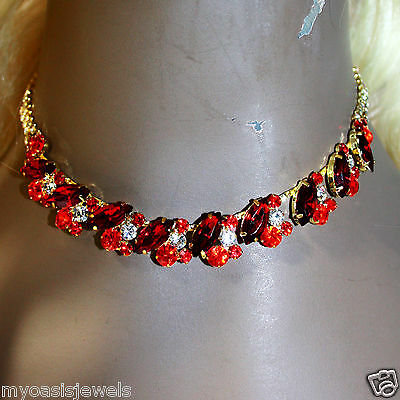 Rhinestone Choker Necklace Earring Set Austrian Crystal Pageant Prom Party Red