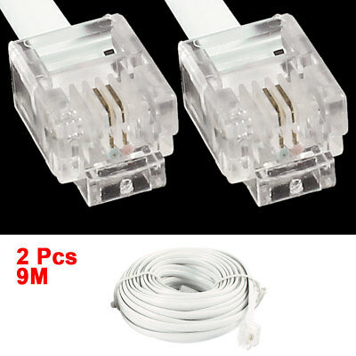 2 Pcs 9M 30Ft RJ11 6P2C Male to Male Connector Cable Cord White for Telephone