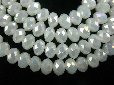 30Ps Jade White AB Faceted Crystal Glass Rondelle Loose Bead Spacer 8x6mm Charms