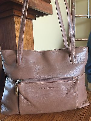 Vintage Stone Mountain Brown Pebble Leather Tote Shoulder Purse Bag Medium