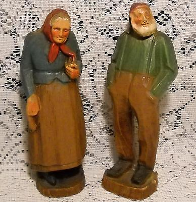"ANTIQUE 1940s HAND CARVED WOOD OLD MAN & WOMAN FIGURES PAINTED FOLK ART 5-1/2"" H"