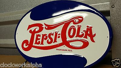 Embossed PEPSI COLA OVAL SIGN Soda Crush Cooler Machine Bottle Mobil Coke