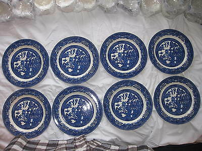 8 Wood & Sons Blue Willow Lunch Plates - Old Backstamp