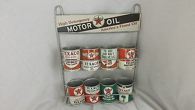 8 TEXACO Motor Oil Can RACK Gas Pump Outboard Aircraft Engine SIGN Globe Mobil