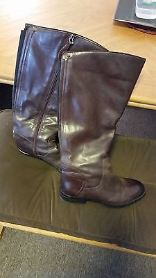 Franco Sarto Trooper 2  Women's Tall Brown Leather Wide Calf Boots Size 7