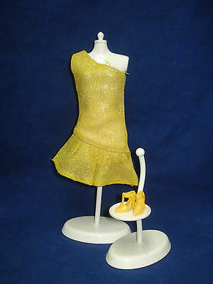 Vtg Barbie Stacey 60s 70s Mod Doll Clothes Lot CLONE Gold Dress w Shoes