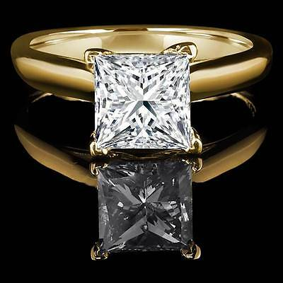 2.0 ct Princess Cut Solitaire Engagement Wedding Ring REAL Solid 14k Yellow Gold
