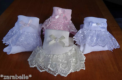 Baby Girl White Pink Cream Lace Frilly Socks 000/00/0-2.5/3-5/6-8.5/9-12/12-3.5