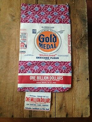 Vintage Gold Medal Flour Friendship Fund Sack Unused Country Store Decor