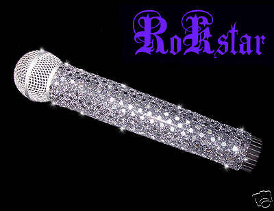 MICROPHONE COVER (ROKSTAR) SILVER SPARKLE MICROPHONE COVER FOR CORDLESS MIC