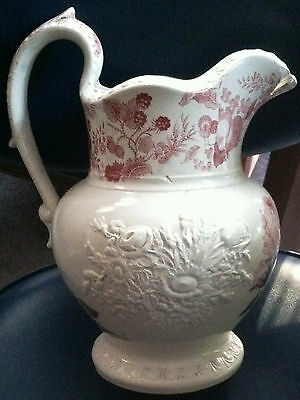 "ANTIQ PITCHER,ENOCH WOODS BURSLEM""CELTIC CHINA""TRANSFER PRINT W/EMBOSSED FLORALS"