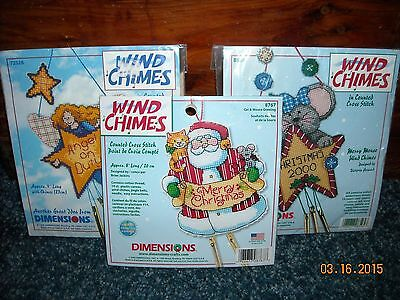 Dimensions Counted Cross Stitch Wind Chimes Kit ~ Set Of 3 ~ Factory Sealed