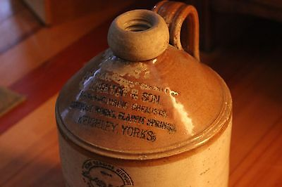 ANTIQUE LEIGHTON & SON, MANUFACTURING CHEMISTS STONEWARE JUG
