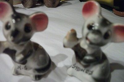 salt and pepper, antique, mice