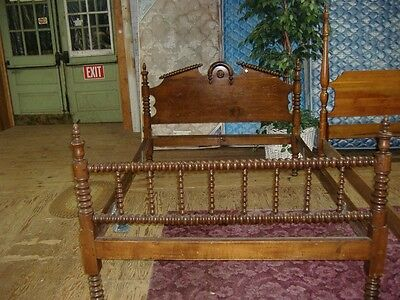 Jenny Lind Spool Bed Walnut Double Vintage Antique Early Walnut