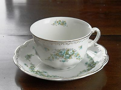Royal Crown Something? Teacup and Saucer Tiny Blue Roses