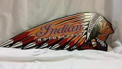 Embossed INDIAN MOTORCYCLE SIGN Chief Harley Scout Vintage Style American Oil