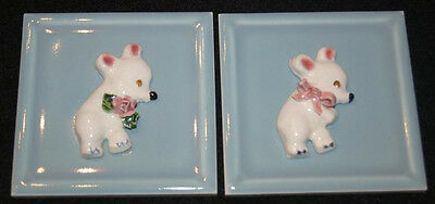 Pair of Vintage Ceramic Plaques or Tiles with Teddy Bears